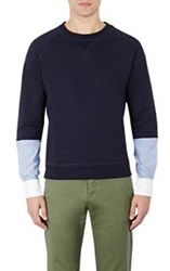 Band Of Outsiders Oxford Cuff French Terry Sweatshirt Multi Size 0 Xs