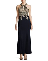 Xscape Evenings Petite Halter Bodice Gown Navy Gold