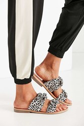 Urban Outfitters Double Bow Slide Black And White