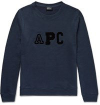 A.P.C. Flocked Fleece Back Cotton Blend Sweatshirt Navy