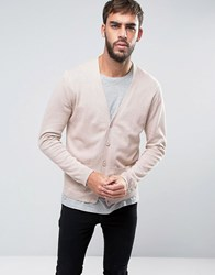 Asos Cardigan With Patch Pockets In Cotton Pink Stone