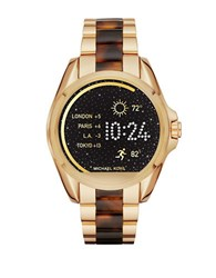 Michael Kors Android Wear Bradshaw Stainless Steel And Tortoise Acetate Bracelet Display Smartwatch Gold