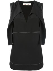 Marni Sleeveless Contrast Stitch Blouse Black