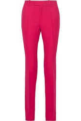 Gucci Wool And Silk Blend Faille Straight Leg Pants Fuchsia