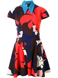 Delpozo Floral Print Flared Dress Multicolour