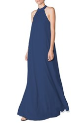Women's Ceremony By Joanna August 'Elena' Halter Style Chiffon A Line Gown Tangled Up In Blue