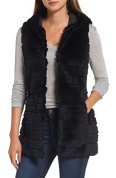 Love Token Women's Genuine Rabbit Fur Hooded Vest Black