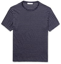 Sandro Striped Linen Jersey T Shirt Midnight Blue