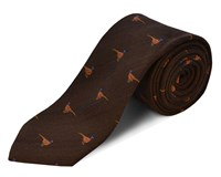 Double Two Silk Wool Pheasant Tie Green