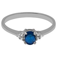 A B Davis 9Ct White Gold Oval Sapphire And Diamond Engagement Ring