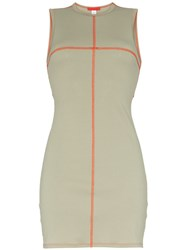 Eckhaus Latta Contrast Seam Mini Dress Green