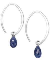 Macy's Sapphire Threader Earrings 4 1 10 Ct. T.W. In Sterling Silver