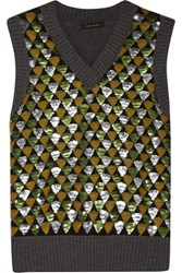 Marc Jacobs Sequin Embellished Wool Sweater Gray