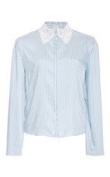 Alexis Mabille Long Sleeve Striped Blouse Blue