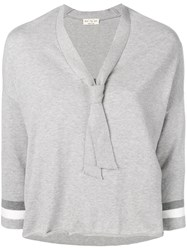 Ma'ry'ya V Neck Sweater Grey