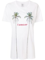 Zoe Karssen L'amour Palm Tree Print T Shirt White