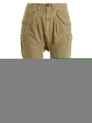 R 13 Mid Rise Cotton Blend Cropped Cargo Trousers Khaki