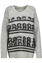 Current Elliott Fringed Marled Wool And Cashmere Blend Sweater White