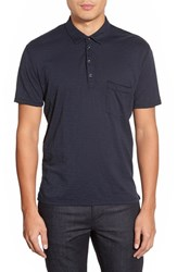 Men's 7 For All Mankind Trim Fit Raw Edge Polo Midnight Navy