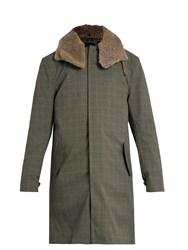 Norwegian Rain Moscow Shearling Collar Technical Coat Brown Multi