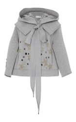 Dice Kayek Embroidered Bow Blouse Grey