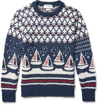 Thom Browne Jacquard Knit Wool And Mohair Blend Sweater Storm Blue