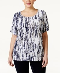 Jm Collection Woman Jm Collection Short Sleeve Printed Jacquard Blouse Only At Macy's