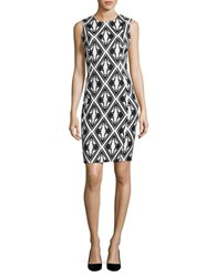 Calvin Klein Geometric Knit Sheath Dress Black White