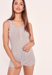 Missguided Ribbed Vest And Short Pj Set Grey