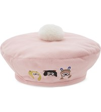 Mini Cream Cartoon Pompom Beret Pink