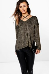 Boohoo Petite Emily Glitter Knit Plunge Strappy Jumper Gold