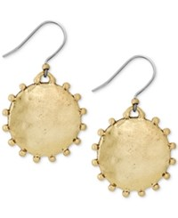 Lucky Brand Gold Tone Medallion Drop Earrings