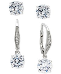 Giani Bernini Crystal Drop And Stud Earring Set In Sterling Silver