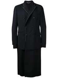 Comme Des Garcons Homme Plus Layered Double Breasted Coat Blue