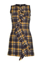Msgm Metallic Check Sleeveless Dress Blue
