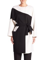 Max Mara Colorblock Wool Blend Coat White