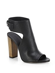 Vince Addie Leather Open Toe Booties Black