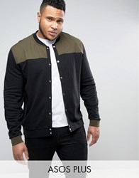 Asos Plus Jersey Bomber Jacket With Woven Panels And Snaps In Khaki Black