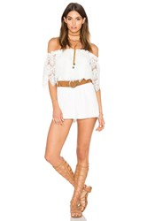 Oh My Love Off Shoulder Lace Romper White