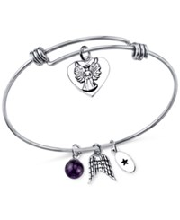 Unwritten Angel Charm And Amethyst 8Mm Bangle Bracelet In Stainless Steel