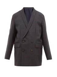 Wooyoungmi Wool Tie Back Double Breasted Jacket Navy