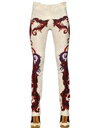 Just Cavalli Feather Printed Viscose Pants