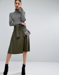 Asos Skater Skirt In Leather Look With Self Belt Khaki Grey