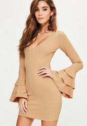 Missguided Nude Plunge Frill Sleeve Bodycon Dress