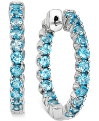 Macy's Swiss Blue Topaz Inside Out Hoop Earrings 4 Ct. T.W. In Sterling Silver