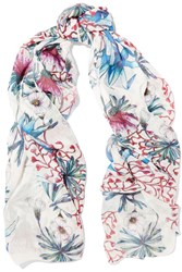 Maje Epine Floral Print Modal And Silk Blend Scarf White
