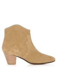 Isabel Marant Etoile Dicker 55M Suede Ankle Boots Light Beige