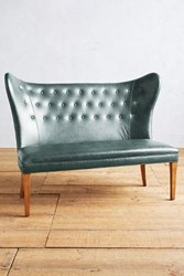 Anthropologie Premium Leather Wingback Bench Armless Storm