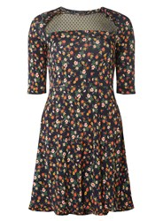 Dorothy Perkins Navy Floral Mesh Insert Fit And Flare Dress Blue
