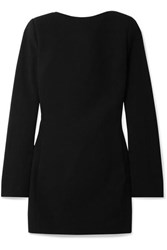 Saint Laurent Open Back Bow Embellished Wool Crepe Mini Dress Black